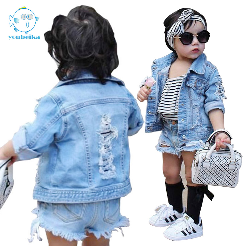 Toddler Boys Coats And Jackets Outwear Coats Kids Girl Jackets Girls Outerwear Coat Casual Baby Girl <font><b>Denim</b></font> Jackets Holes Clothes