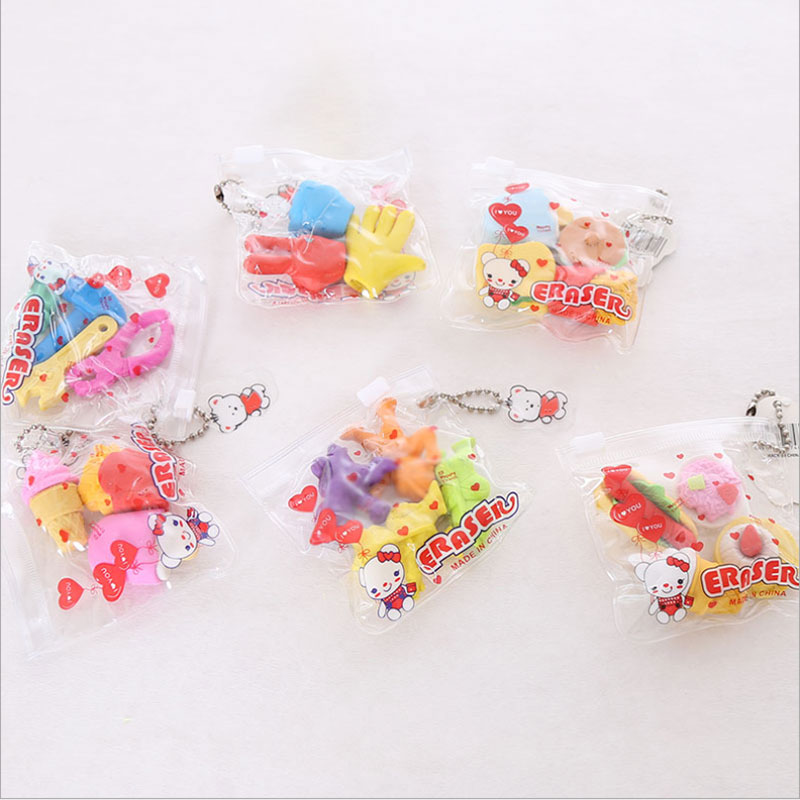3pcs / Bag Eraser Puzzle Creative Stationery Children Cute Cartoon Eraser Primary School Prizes School Kawaii School Supplies