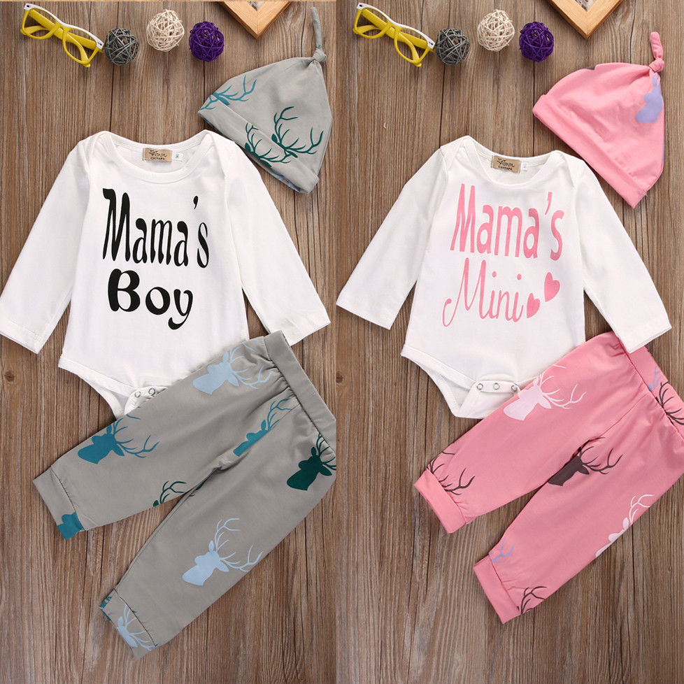 MAMA'S Infant Baby Boys Girls 3Pcs Outfit Romper Long Sleeve Xmas Clothing Pants Casual Hat Babygrow Clothes puseky 2017 infant romper baby boys girls jumpsuit newborn bebe clothing hooded toddler baby clothes cute panda romper costumes
