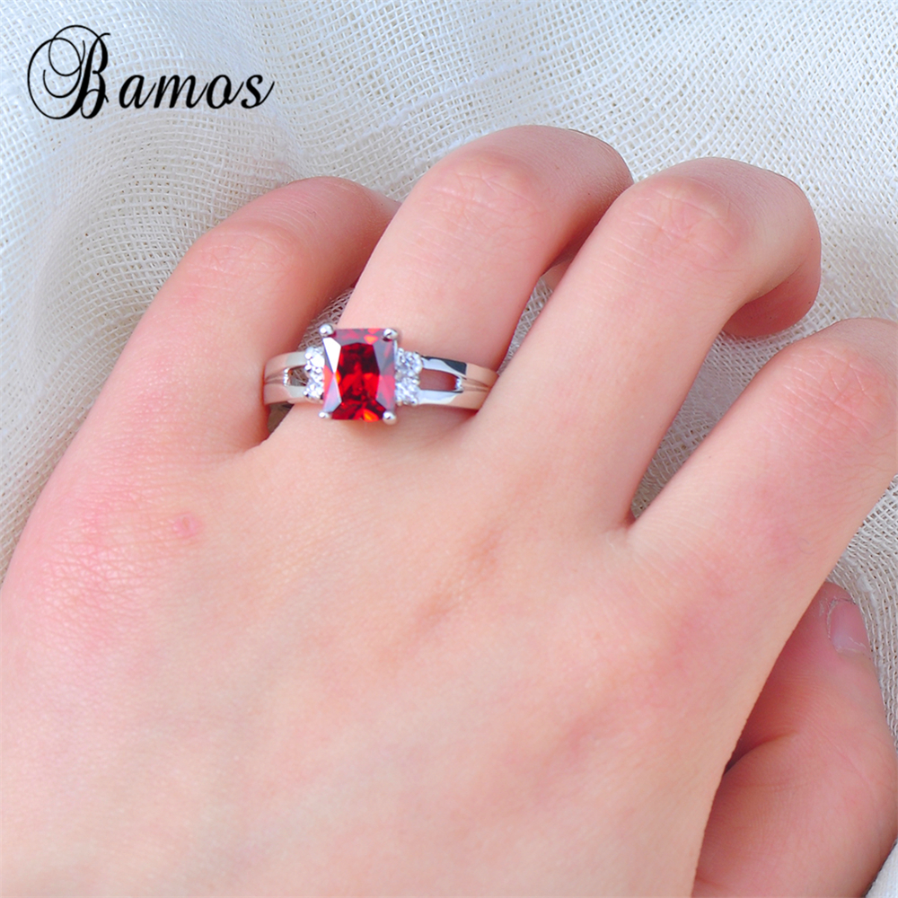 Bamos Brand OL Female Red Geometric Ring 925 Sterling Silver Filled ...