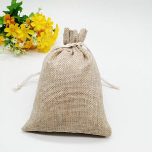 Image 3 - 100 unids/lote 7x9 15x20cm Vintage Natural arpillera Lino yute bolsa de regalo yute bolsa de embalaje de regalo bolsas de regalo con cordón para boda