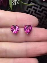 Женские серьги гвоздики с розовым топазом lanzyo из стерлингового