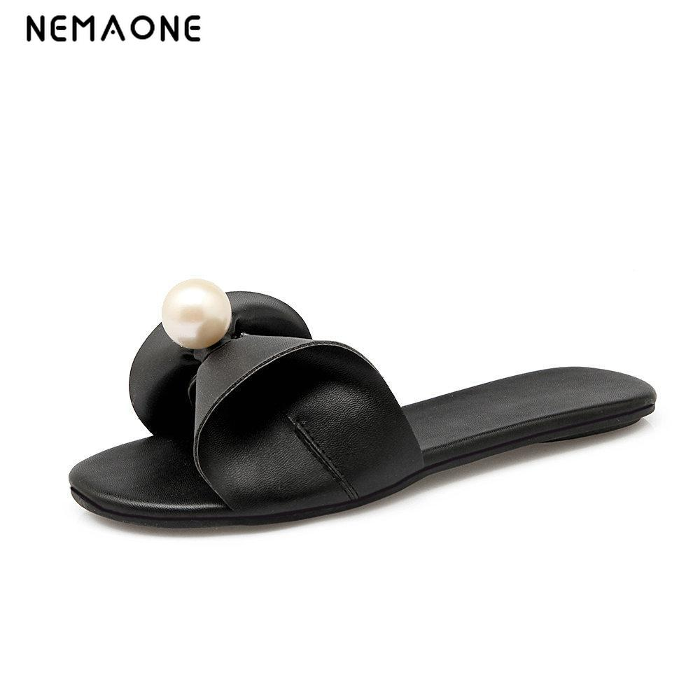 NEMAONE New 2019 women flip flops Beach sandals fashion Bling slippers summer women flats shoes woman flat sandals size 33-43 kuyupp fashion leather women sandals bohemian diamond slippers woman flats flip flops shoes summer beach sandals size10 ydt563