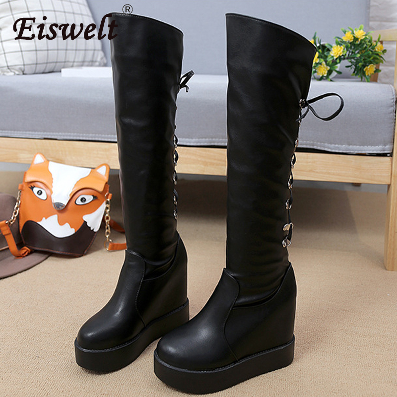 EISWELT Autumn Winter Women Fashion Boots High Female Solid Casual Shoes Ladies Martin Boots Fashion Lace Up Women Boots women s fashion solid sleeveless lace up front bodysuit
