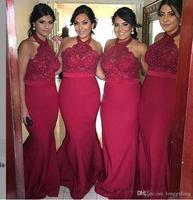 Красный бордовый шифон Русалка Длинные платья подружки невесты 2018 кружево Холтер дешевые горничной Honor Формальные Свадебная вечерин