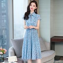 New Ruffle Polka Dot Blue Vintage Dress Summer Sweet Bowtie Pleated Chiffon Women's Dress Korean Style Ladies Dresses Elegant цена