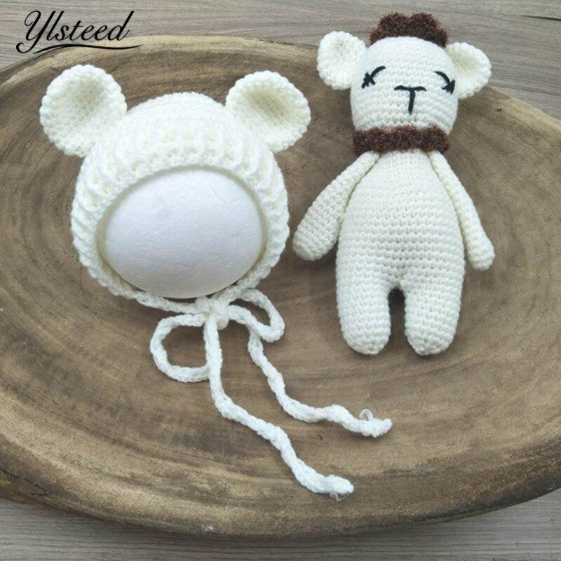 Newborn Photography Accessories Lovely Baby Sheep Bear Hat Doll Set Cute Animal Bonnet Knit Beanie Baby Photoshoot Newborn Props