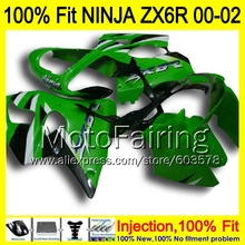 8Gifts Injection mold Body For KAWASAKI NINJA ZX-6R 00-02 1HM7 ZX 6R ZX6R 00 01 02 ZX636 636 2000 2001 2002 Fairing Green black