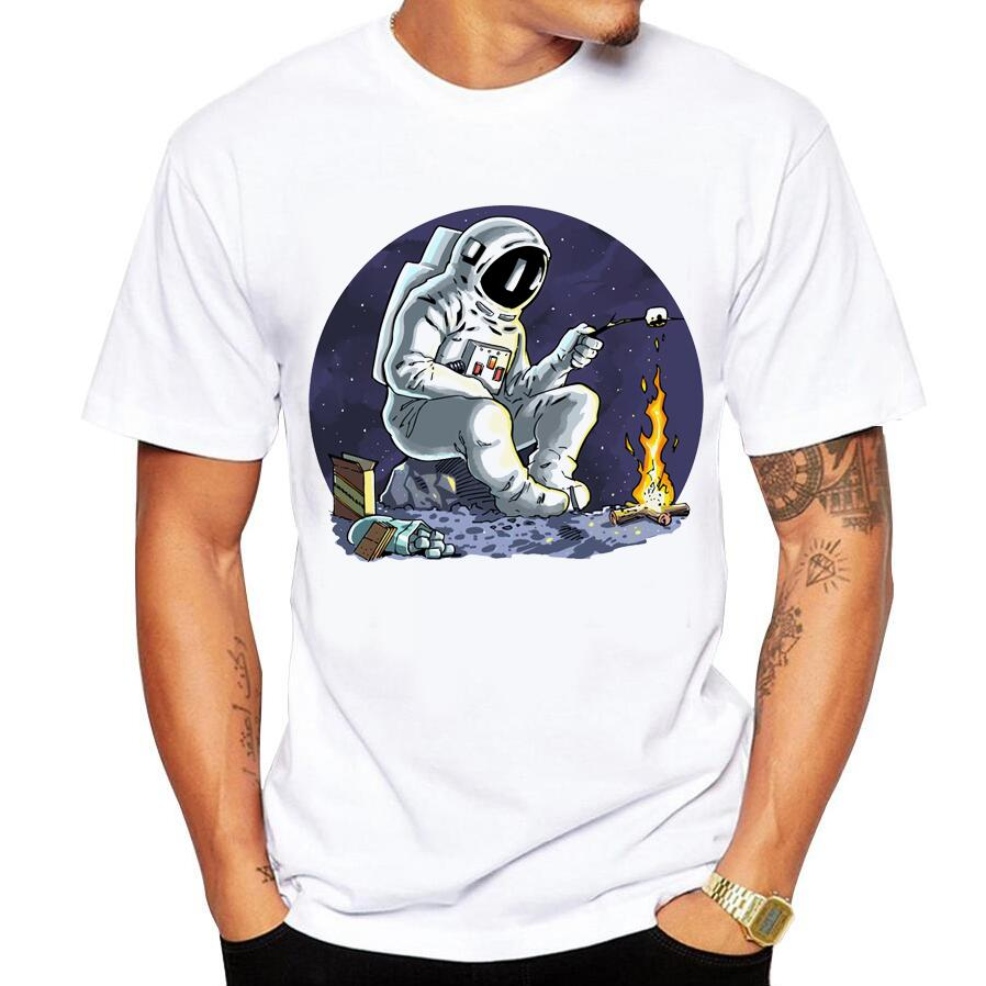 new fashion summer short sleeve cool Astronaut printed men   t     shirt   100% cotton comfortable casual men   t  -  shirt   2018