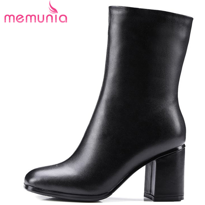 MEMUNIA 2018 top quality genuine leather boots for women square toe autumn winter mid calf boots fashion dress shoes woman memunia 2018 half boots for women spring autumn mid calf boots fashion elegant pu nubuck leather shoes woman party flock