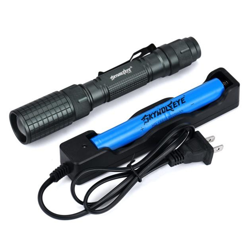 Yimistar #D003 Skywolfeye Zoomable 4000 Lumen 5 Modes XML T6 LED Torch Lamp Flashlight 18650&Charger Bicycle Light 3800 lumens cree xm l t6 5 modes led tactical flashlight torch waterproof lamp torch hunting flash light lantern for camping z93