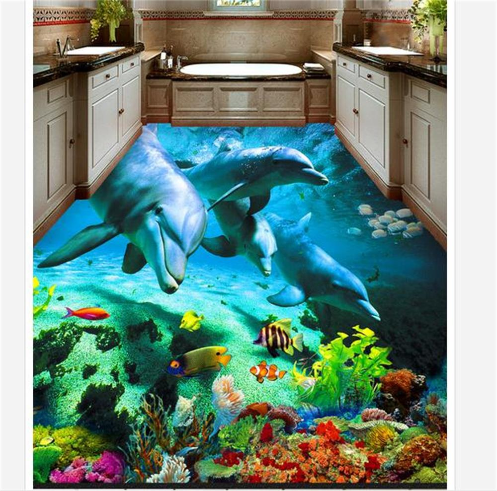 custom mural 3d photo floor wallpaper sea world dolphin 3d photo painting muarl bathroom self-adhesive PVC waterproof wallpaper