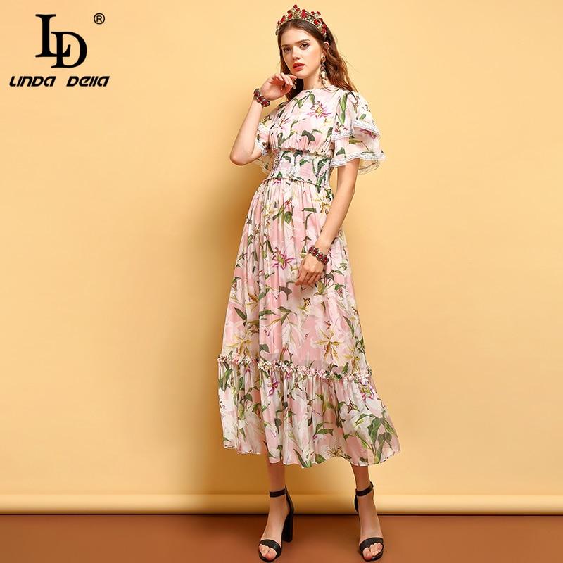 LD LINDA DELLA moda lato sukienka kobiety z krótkim rękawem Ruffles Floral wydrukowano Mesh nakładka elegancka sukienka w stylu Vintage strój w pasie w Suknie od Odzież damska na  Grupa 3