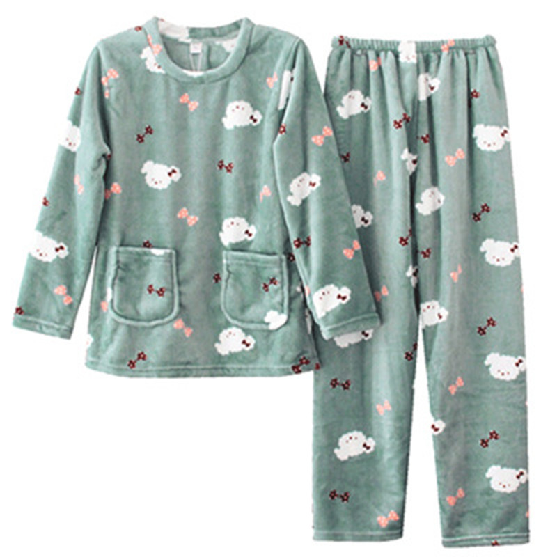 Winter Female Flannel   Pajamas     Set   Polyester Full Trousers Lady Two Piece Cartoon Dog Print Pyjama Home Sleepwear
