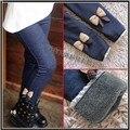 Calça jean meninas arco calças SK007 Frete grátis crianças calças crianças calças de algodão elástico na cintura legging calças quentes de varejo
