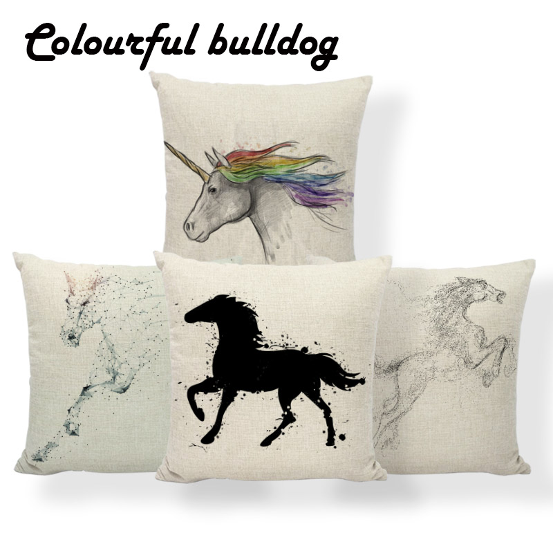 Horse Unicorn Cushions Animal Diamond Flowers Cover Pillows Zaka Beach Baby Birth Gifts  ...