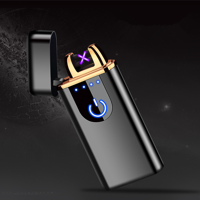 Image 2 - New USB Electric Dual Arc Lighter Rechargeable Windproof LED Power Disaplay Dual Thunder Pulse Cross Plasma Free Laser Logo-in Cigarette Accessories from Home & Garden