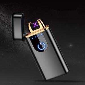 Image 2 - Nowy USB elektryczny podwójny zapalniczka łukowa akumulator wiatroodporny LED Power Disaplay podwójny grzmot Pulse krzyż plazma bezpłatne logo wycinane laserem