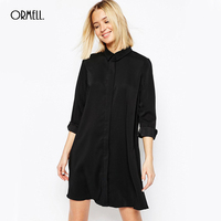 ORMELL Women Sexy Chiffon Dress Long Sleeve Straight Dress Turn Down Collar Femininas Casual Plus Size