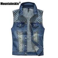 Mountainskin 2017 Tide Men S Denim Vest Cowboy Sleeveless Jean Jackets Men Waistcoat Slim Fit Casual