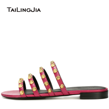 купить Women Black Giant Studded Sandals Studs Slides Red Beach Shoes Strappy Slippers Vacation Flats Mules Large Size Wholesale 2018 по цене 3497.13 рублей