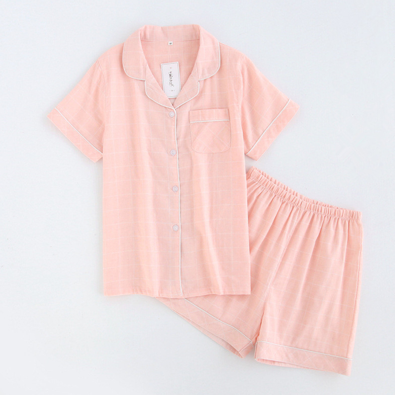 KISIBINI Summer New Arrival Women   Pajamas     Sets   Fashion Plaid Pink Short Sleeve Shirt+Shorts Sleepwear Comfortable Homewear