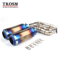 TKOSM Motorcycle For Kawasaki Z1000 Exhaust System Slip On Muffler And Link Laser SC Middle Pipe