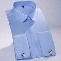 Men Summer Mercerized Cotton Men French Cufflinks Shirt Male Dress Shirt Long Sleeve Business Wedding Covered Button Shirt
