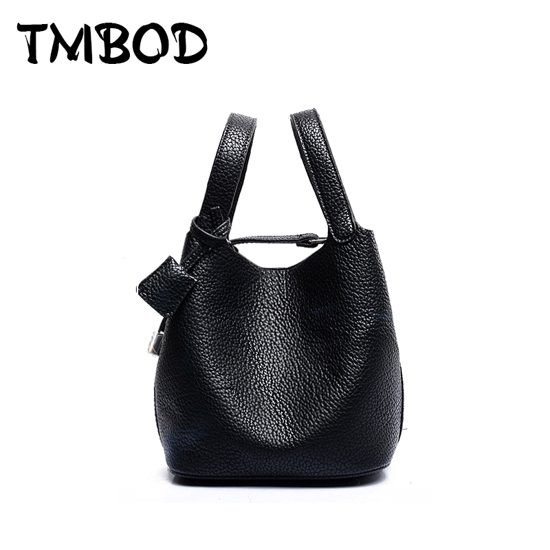 New 2017 Brand Design Women Tote Lock Small Mini Bucket Split Leather Handbags F