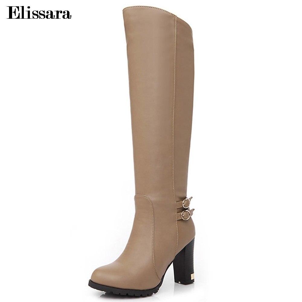 Elissara Women Boots Thigh High Knight Women High Heels Knee High Boots Women Zip Comfortable Boots Plus Size 34-43