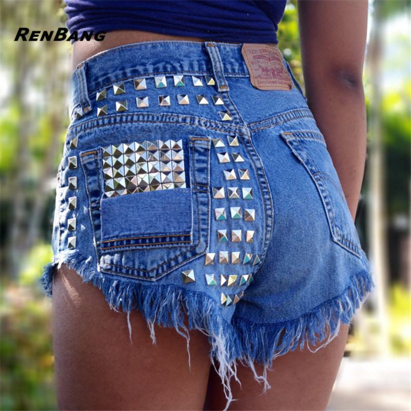 RENBANG 1993 Women's Fashion Brand Vintage Tassel Rivet Ripped High Waisted Short Jeans Punk Sexy Hot Woman Denim Shorts fashion ripped high waisted loose jeans