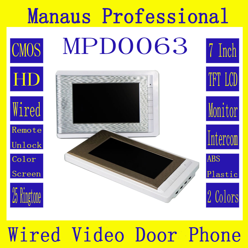 ФОТО High quality intelligent Home Furnishing wireless visual intercom,7 inch digital TFT LCD indoor surveillance video doorbell D63C