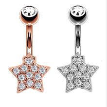 Fashion Surgical Steel Crystal Star Dangle Navel Rings Rose Gold Color Belly Button Ring Women Navel Piercing Body Jewelry(China)