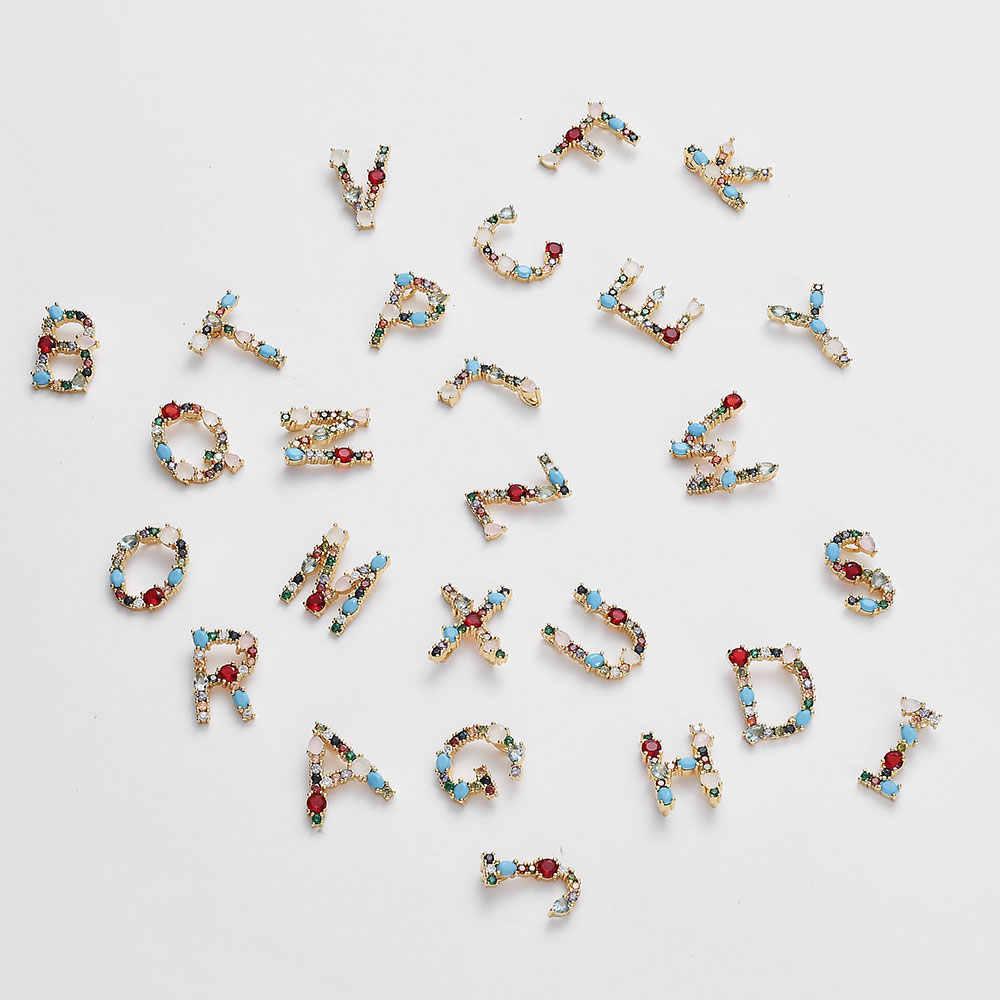 26 pçs/lote multicolorido moda ouro de A-Z alfabeto diy encantos pingente micro pave zircon latão iniciais letras acessório