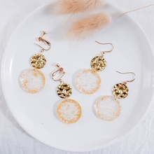 SUKI Sweet Cute Gold Glitter Resin Round Pendant Clip on Earring Acetic Acid Earrings Sequin Acrylic Drop