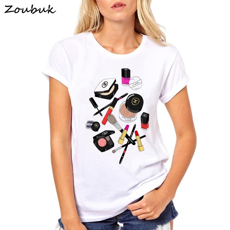 2018 new Perfume Lipstick Nail Polish printed t shirt women fashion makeup tee shirt femme tshirt summer tops hipster tees