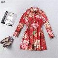Famoso runway moda mujeres corto vestidos vestido de diseñador de la marca de lujo camisa de vestir femenina rojo impreso floral de primavera ropa