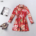 famous runway fashion women short dresses luxury brand shirt dress female designer dress red floral printed spring clothing