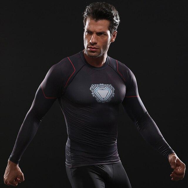 נוקמי 3 איש ברזל צעצוע T חולצה דחיסת חולצה מהיר ייבוש Mens T חולצות ארוך שרוול קיץ עבור 3D חדר כושר בגדים