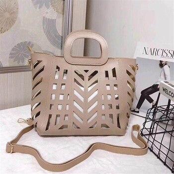 86a3c5403b84 2019 брендовая Большая вместительная открытая пляжная сумка элегантные  женские сумки из двух частей ажурная сумка одноцветная