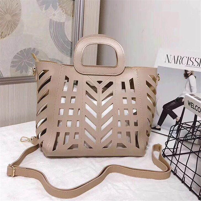 2019 Brand Large Capacity Hollow Out Beach Bag Elegant Woman Handbags Two-piece Openwork Bag Solid Color PU Leather Shoulder Bag