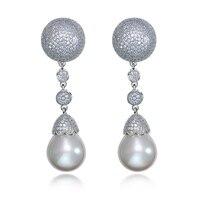 Thời trang Nữ Dài Dangle Earrings với CZ Đá Tổng Hợp Ngọc Trai cho Đám Cưới & Đảng vàng Trắng màu Trang Sức cho phụ n