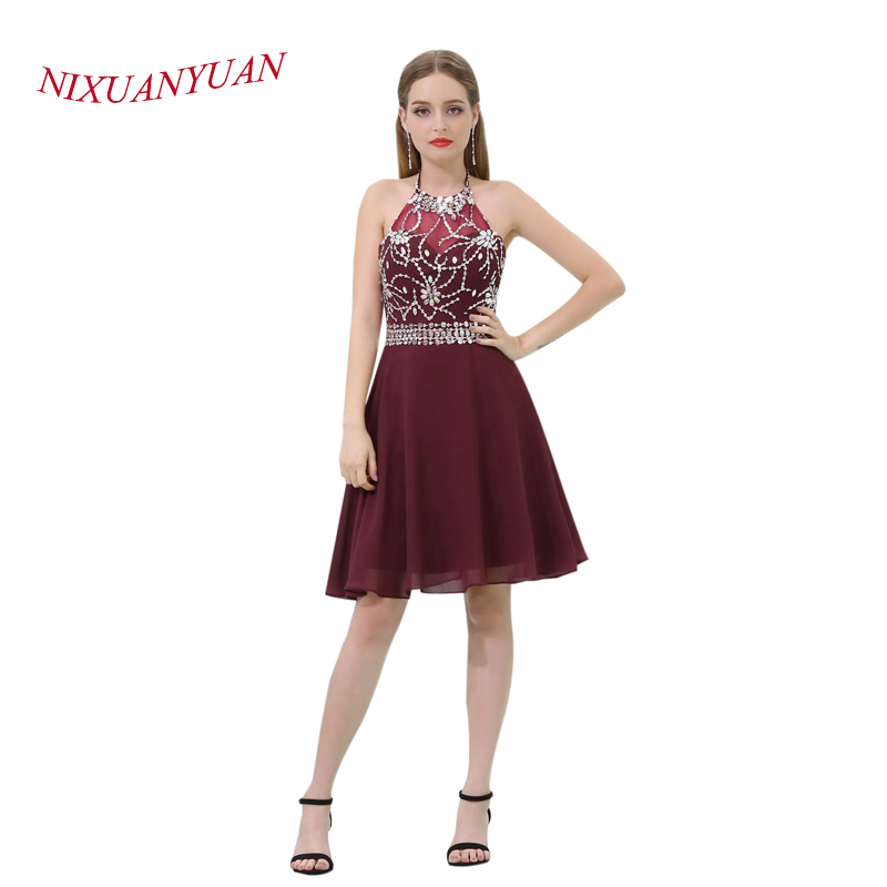 NIXUANYUAN 2018 New Hot Sale Burgundy Chiffon Party Gown Elegant Beading   Cocktail     Dress   2017 Short vestidos de   cocktail   Backless