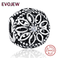Authentic 925 Sterling Silver Floral Brilho Charme Beads Com Clear CZ Fit Pandora Bracelet Jóias DIY Fazendo Presente Original