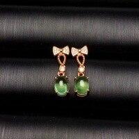 Uloveido Natural Green Grapevine Stud Earrings for Women, Girls 925 Sterling Silver Fine Jewelry Earrings for Women 20%off FR185