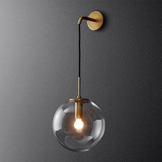 Postmodern Glass Ball Wall Lamp Iron American Retro LED Bedside Living room Corridor Stair Light RH Nordic Lamp Circle retro circle
