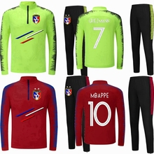 17c72004 Men Kids Soccer sets Long Sleeves France 2 Stars Training Jerseys Autumn  winter velvet Football Tracksuits