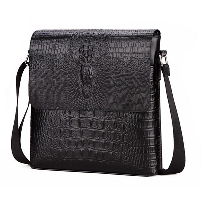 New Men's Alligator Pattern Flap Shoulder Bags For Men Messenger Bag Business Crossbody Bag Crocodile Bolsa(Black)