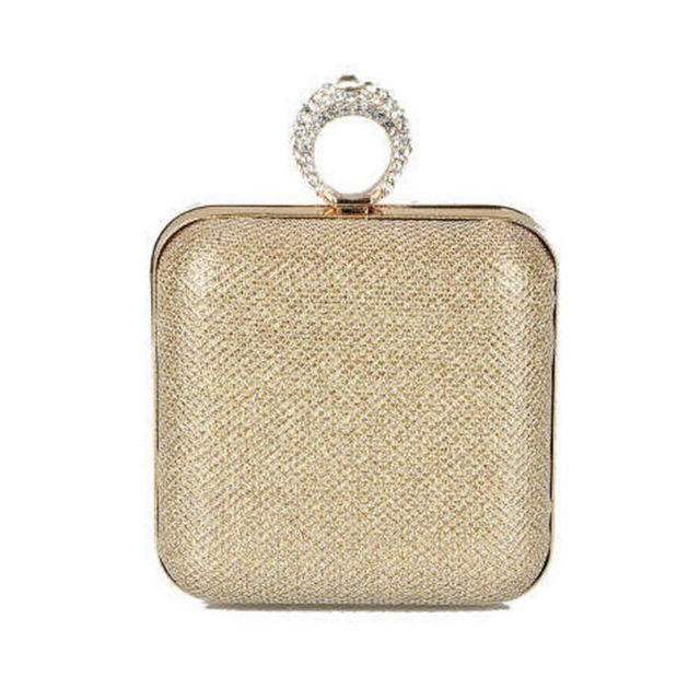New design finger rings women evening bags , women's day clutch ,gold black  Glitter bag chains can be messenger bags , hanabag