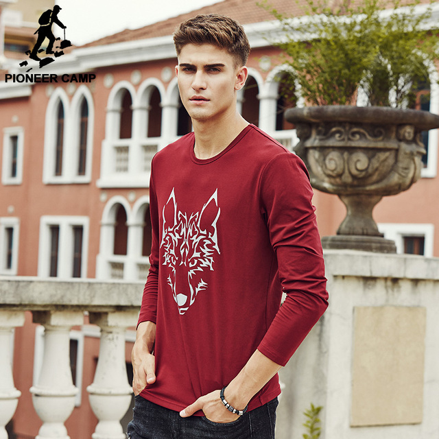 Pioneer Camp 2017 New arrival Men's Long Sleeve T Shirt Cotton brand  Spring Fashion Casual tshirt t-shirt For Male 622145